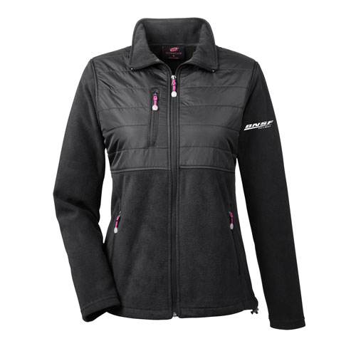 BNSF Ladies' UltraClub Fleece Jacket with Quilted Overlay