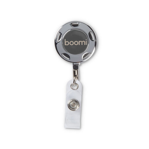 Boomi Chrome Retractable Badge Reel and Holder