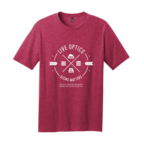 Live Optics District ® Perfect Blend ® Tee, Heathered Red
