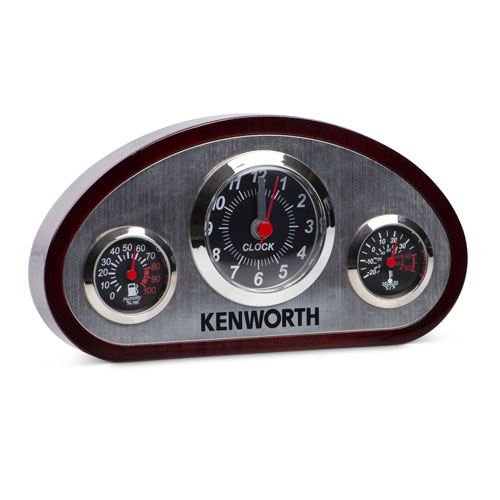 Wood and Silver Dashboard Clock with Thermometer