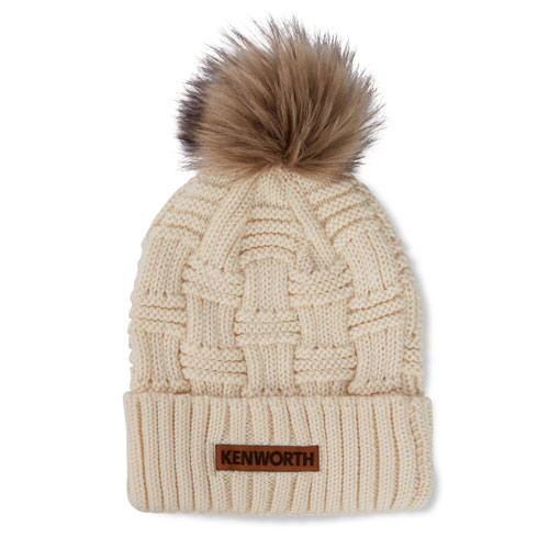 Ladies Pom Beanie with Faux Leather Patch