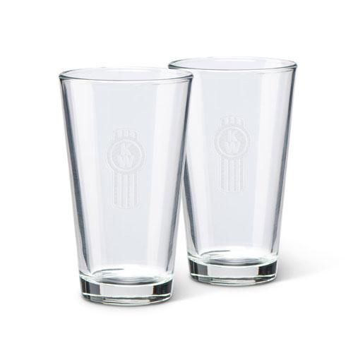 16 oz. Glass with Etched Kenworth Bug Logo (Set of 2)