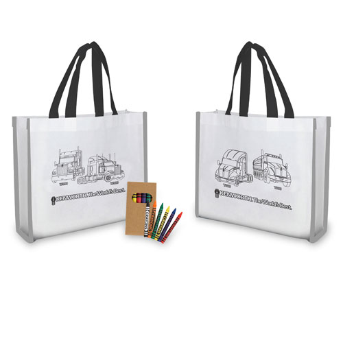"""Reflective """"Color Me"""" Tote with Crayons"""