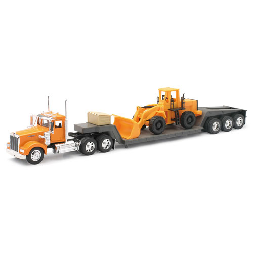 1:32 Scale Kenworth W900 Lowboy with Construction Tractor