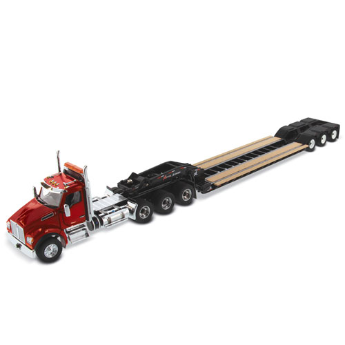 1:50 Scale T880 Day Cab with Low Profile Trailer - Red