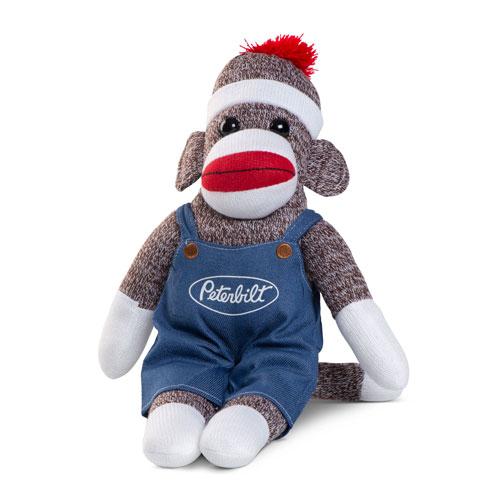 Brown Sock Monkey in Denim Overalls