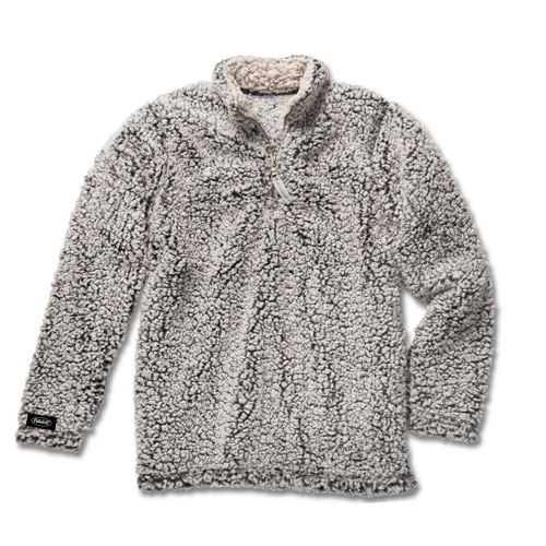 Ladies' Black Heather Sherpa Pullover with Quarter Zip