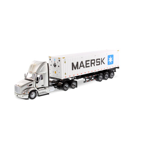 1:50 Scale 579 Day Cab with Refrigerated Sea Container - Silver