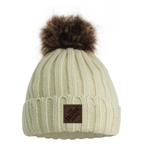 Cable-Knit Beanie with Removable Pom