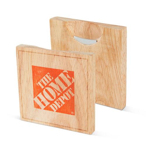 Wood Coaster with Bottle Opener (Set of 2)