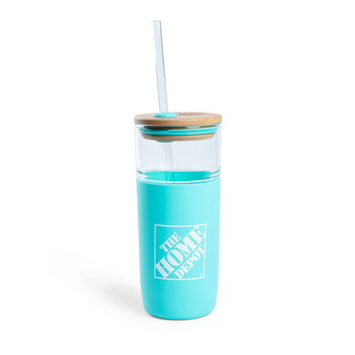 Glass Straw Tumbler with Bamboo Lid