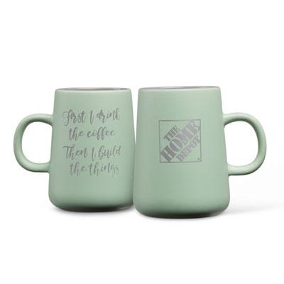 """First I Drink the Coffee"" Stoneware Mug"