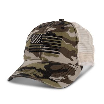 Camo Monochrome USA Flag Mesh Hat